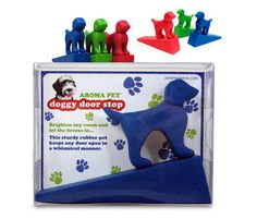 The door is always open in my house for the dogs. Cute doggy door stop available at Fun Time Dog Shop.