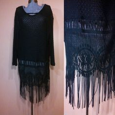For consideration is a Fun Knit open woven 80s/90s does 1920s Flapper inspired Dress. Completely sheer, wear it over a frilly slip or with