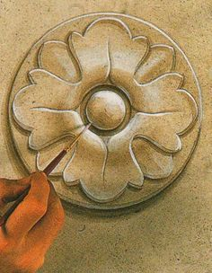 -Step by Step Trompe l'oeil Medallion tutorial: I give for you what was promised, but a lot better; I've established the record in th Faux Painting, Mural Painting, Mural Art, Love Painting, Wall Murals, Motif Arabesque, Art Decor, Decoration, Grafik Design