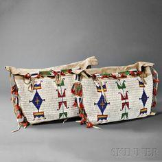 Pair of Lakota Beaded Hide Possible Bags | Sale Number 2879B, Lot Number 113 | Skinner Auctioneers