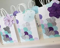 Items similar to MERMAID Birthday Party Favor Bags (Set of Goodie/ Goody/ Loot/ Candy/ Treat Bags/ Bag/ Supplies/ Decoration on Etsy Mermaid Theme Birthday, Birthday Diy, Birthday Party Favors, Girl Birthday, Birthday Parties, Baby Favors, Party Favor Bags, Diy And Crafts Sewing, Diy Crafts