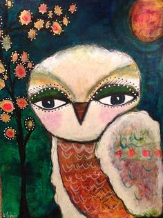 Mixed media owl painting on 11x14 heavy paper.