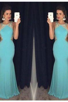 Blue Prom Dress,Mermaid Evening Dress,2017 Prom Gown,mermaid Party Dress,Long Prom Dress,Blue evening gowns