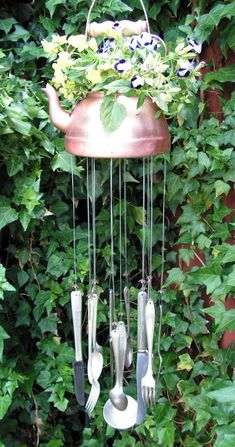 DIY Vintage Copper Teakettle With Silverware Windchimes Garden Art