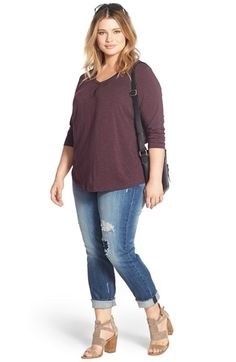 Sejour Tee & KUT from the Kloth Boyfriend Jeans (Plus Size) available at…