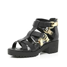 Black chunky strap cleated sole sandals - flat sandals - shoes / boots - women