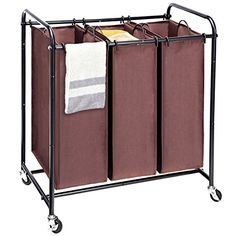 Laundry Sorter, MaidMAX Metal Rolling Heavy-Duty Triple Laundry Hamper Cart Basket with 3 Removable Bags and 4 Wheels, 2 Lockable, Brown