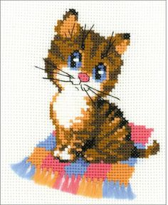 Riolis Kitten - Cross Stitch Kit. This cross stitch kit contains 10 count white Zweigart Aida Fabric, embroidery wool/acrylic threads (8 colors), one needle and