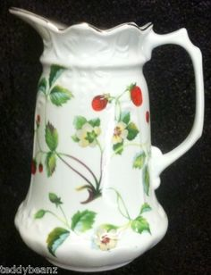 Antique Milk or Water Pitchers | LONDON POTTERY Large Pitcher Tea/Water/Milk/Coffee Strawberries ...