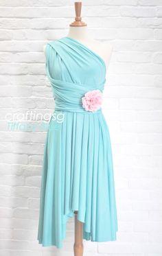 Bridesmaid Dress Infinity Dress Tiffany Blue Knee by craftingsg, $35.00