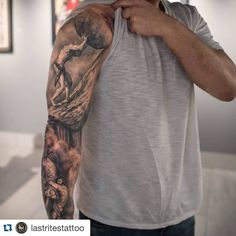 """<a class=""""pintag searchlink"""" data-query=""""%23Repost"""" data-type=""""hashtag"""" href=""""/search/?q=%23Repost&rs=hashtag"""" rel=""""nofollow"""" title=""""#Repost search Pinterest"""">#Repost</a> Last Rites Tattoo Theatre Take a look at this Greek mythology inspired sleeve…"""