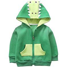 aba9f07ef118f ZOEREA Bébé Veste à Capuche Enfant Garçon Fille Cartoon Animal Crocodile  Fermeture Manches Longues Blouson Manteaux