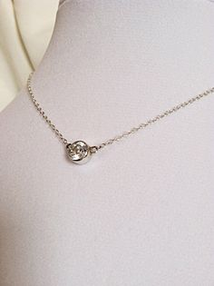 Sterling Silver, 7mm CZ Solitaire Necklace -  gemstone - Valentine by CopperfoxGemsJewelry on Etsy https://www.etsy.com/listing/126620942/sterling-silver-7mm-cz-solitaire