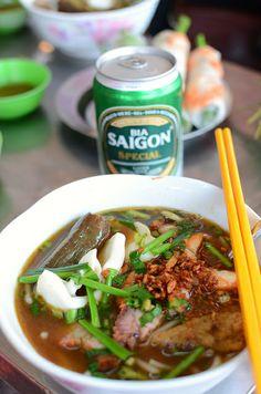 bun mam, bia Saigon by stickychopsticks, via Flickr
