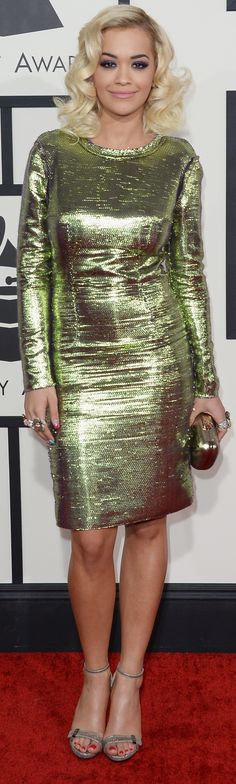 Rita Ora shined in a metallic Lanvin dress (and a handful of cocktail rings!)