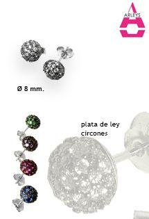 Pendientes de plata de ley cuajados de circones de la firma Arleys Jewelry, con sistema de presión y disponibles en 5 colores diferentes.