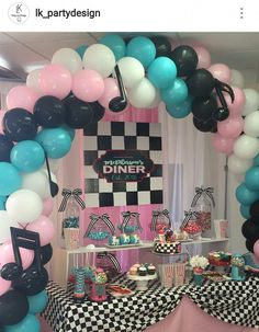 Outstanding uncovered quinceanera party DIY visit this site right here Fifties Party, Retro Party, 50s Theme Parties, Birthday Party Themes, 1950s Theme Party, Grease Themed Parties, Grease Party Themes, Quinceanera Planning, Quinceanera Party