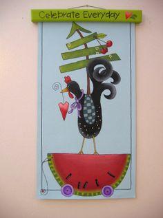 Tole Painted Folk Art Chicken on Canvas by barbsheartstrokes, $34.00