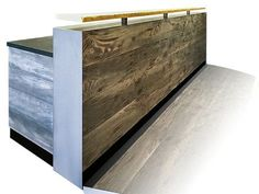 Distressed wood and hot rolled steel reception desk. This reception counter or reception desk works for any office. A reception counter or reception desk is perfect for any retail store or office. Custom Sizes available.