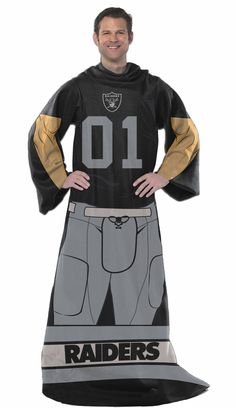 Officially Licensed Raiders Players Comfy Throw Blanket with Sleeves