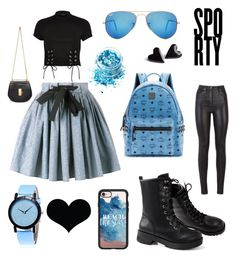 """""""Blue dream."""" by lynnylenny ❤ liked on Polyvore featuring Miu Miu, River Island, MCM, Ray-Ban, Casetify, In Your Dreams, Chloé and Brika"""