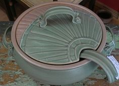 Hand made soup tureen and ladle I love the handle, especially the location!