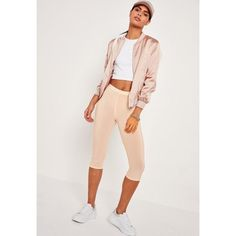 Missguided Slinky Crop Legging ($7.20) ❤ liked on Polyvore featuring pants, leggings, nude, cropped leggings, stretch trousers, stretchy leggings, cropped pants and nude leggings