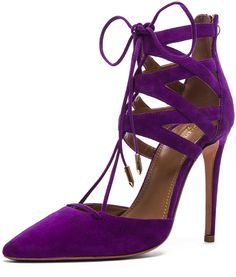 dd774c3cc37 Belgravia Purple Suede Lace Up Pointy Pumps Crazy Shoes