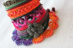 Cordyline Rubra ... Freeform Crochet Cuff by irregularexpressions, $168.00