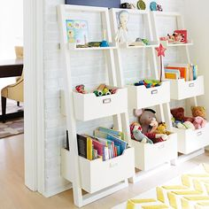 Kids' Desk: Kids White Leaning Wall Bookcase in Bookcases   The Land of Nod