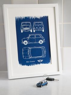 A4 Hand coated traditionally made blueprint cyanotype Mini Cooper.