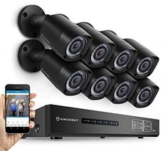 Amcrest Eco-HD 1080P (1920 TVL) 16CH Video Security System w/ Eight 2.0 Megapixel IP67 Weatherproof Bullet Cameras, 65ft Night Vision, Long Distance Transmit Range (984ft), Pre-Installed 2TB HD ** Check out the image by visiting the link.