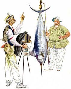 FMD_game_fisherman. A Floyd Davis illustration for an advertisement ...