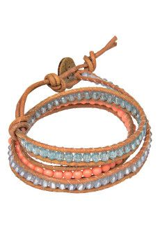 #Fairtrade #Jewelry  This Coral in Aqua Wrap can be worn as a bracelet or anklet. Handmade by our beautiful Trades of Hope artisans in Costa Rica this wrap bracelet is made of light brown leather, faceted glass like & coral beads with a coconut button closure.