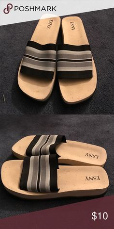 620daef5035fa Black and gray striped Slides. Black And GrayShoes SandalsSize 10. Shop Women s  Esny ...