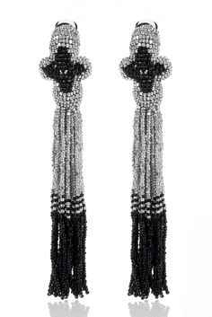 Oscar de la Renta, Beaded tassel earring with a gorgeous color scheme