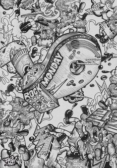 Black and White. Just a Pen Drawing. by , via Behance Illustration Story, Illustrations And Posters, Graffiti Cartoons, Graffiti Art, Cartoon Coloring Pages, Dope Art, Sketch Design, Painting Inspiration, Design Inspiration