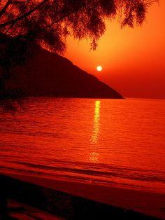 Episkopi beach at sundown, Kythnos island, Western Cyclades, Greece