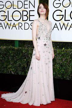 Emma Stone in Valentino dress. Golden Globes 2017 Best-Dressed Celebrities.