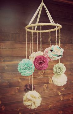 Fabric Chandelier, Extra Large Pom Baby Crib Mobile.