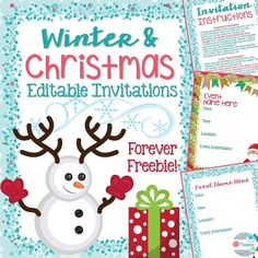 Winter and Christmas editable invitations! Perfect for Holiday parties, Winter concerts and more! Grab it free here: https://www.teacherspayteachers.com/Product/Winter-and-Christmas-Invitations-Editable-2226766