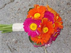 artificial pink and orange daisy bouquet | Hot pink and orange gerbera daisy with yellow pom centers