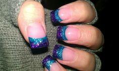 Trendy Nails White Tip Glitter Purple Ideas Nail Polish, Nail Manicure, Diy Nails, Xmas Nails, Prom Nails, Gel Nail, Fancy Nails, Bling Nails, Trendy Nails