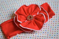 Red Jersey Fabric Flower Headband by PurpleFairyCreations on Etsy