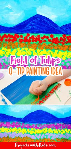 This field of tulips q-tip painting is such a fun art project for kids to create! Painting with q-tips is a wonderful technique for kids to explore and makes the perfect tool for creating beautiful fields of tulips. Kids Painting Activities, Preschool Art Projects, Clay Art Projects, Spring Activities, Craft Projects For Kids, Kids Crafts, Acrylic Painting For Kids, Q Tip Painting, Spring Arts And Crafts
