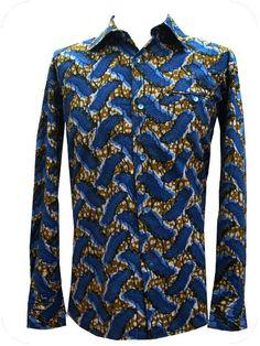 camisa masculina, tejido wax, botones nacar. WWW.OUASSAK.COM