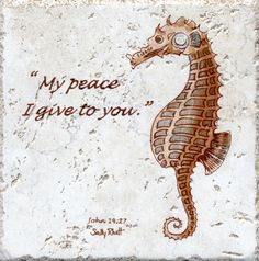 Seahorse Backsplash Tile w Scripture Sally Rhett Handpainted Ceramics and PotteryTile Backsplash Bible Verse Beach Painting Decorative Wall Tiles, Italian Tiles, Backsplash Tile, Tile Installation, Fireplace Mantle, Hand Painted Ceramics, Beach Themes, Shadow Box, Sally