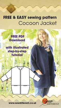 Free sewing pattern for women. The Cocoon Jacket is easy to make with a downloadable PDF pattern and an illustrated step by step tutorial. Have a look at the blog post that accompanies it for ideas and tips on fabrics and styling. Happy Sewing!
