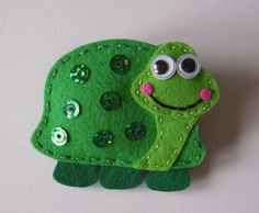 felt turtle with sequins