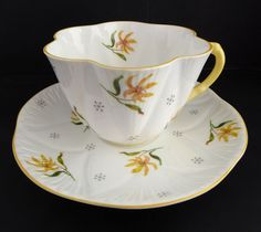 Shelley Tea Cup Saucer Dainty Shape 3793 Yellow Asiatic Lily Flower Floral #Shelley